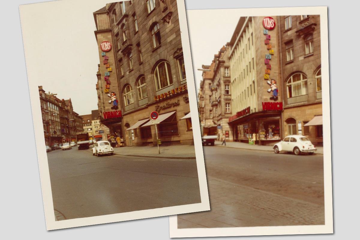 Straßenansicht Luitpoldstraße, Spielwarenhaus Virnich , ca. 1960er Jahre