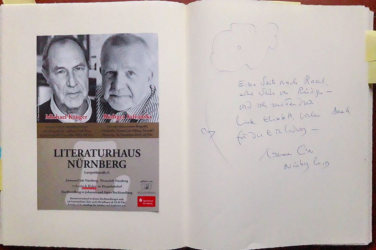 Michael Krügers Eintrag in unser Gästebuch vom 21. November 2019.