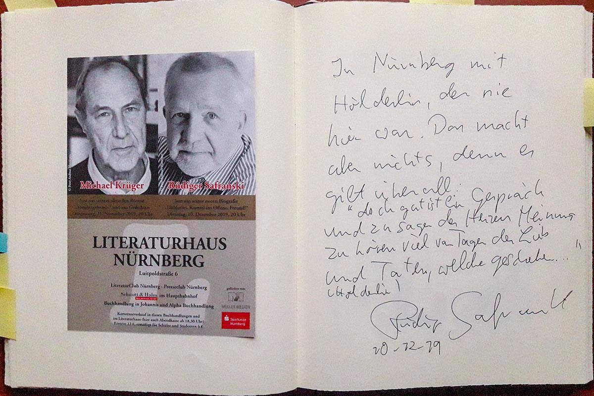 Rüdiger Safranskis Eintrag in unser Gästebuch vom 10. Dezember 2019.