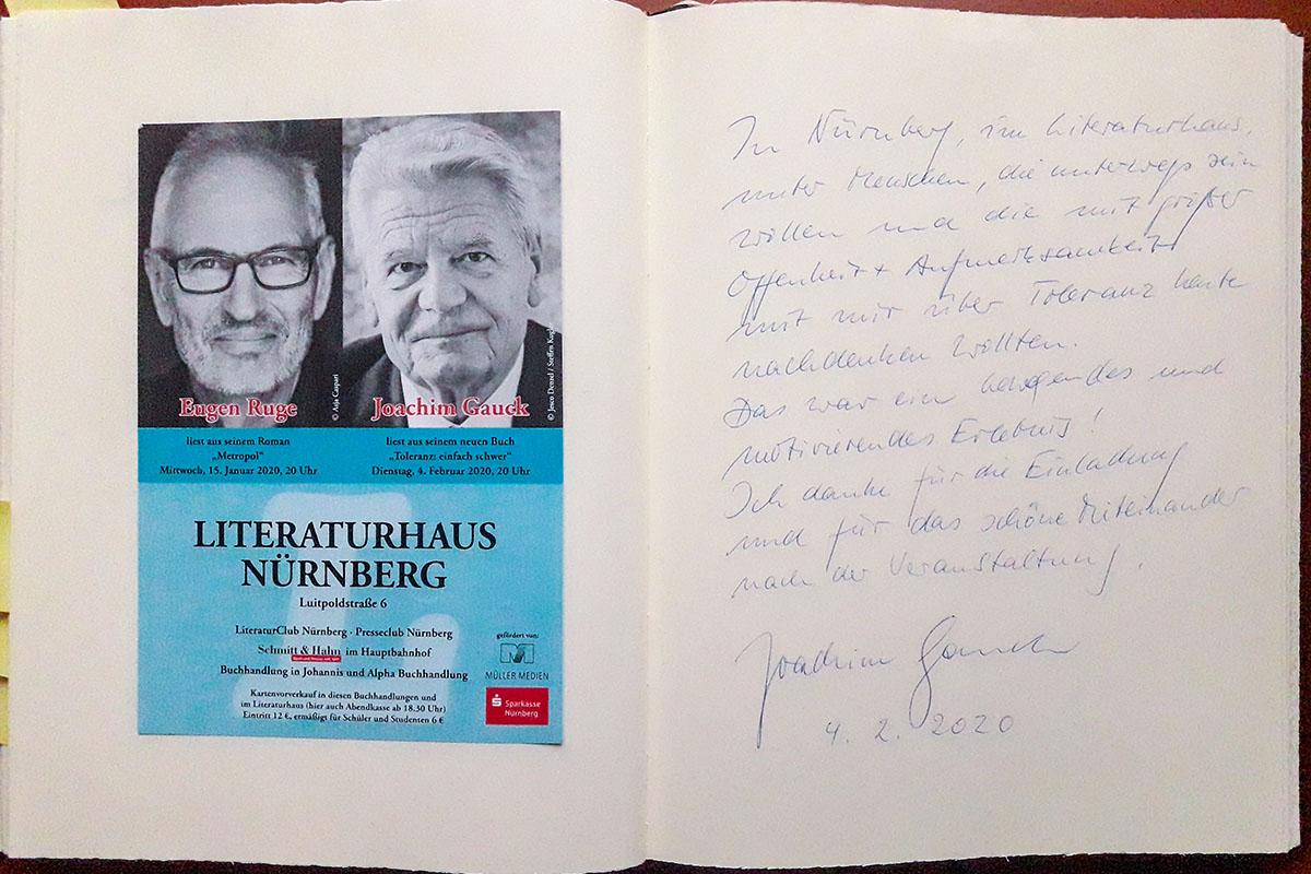 Joachim Gaucks Eintrag in unser Gästebuch vom 4. Februar 2020.