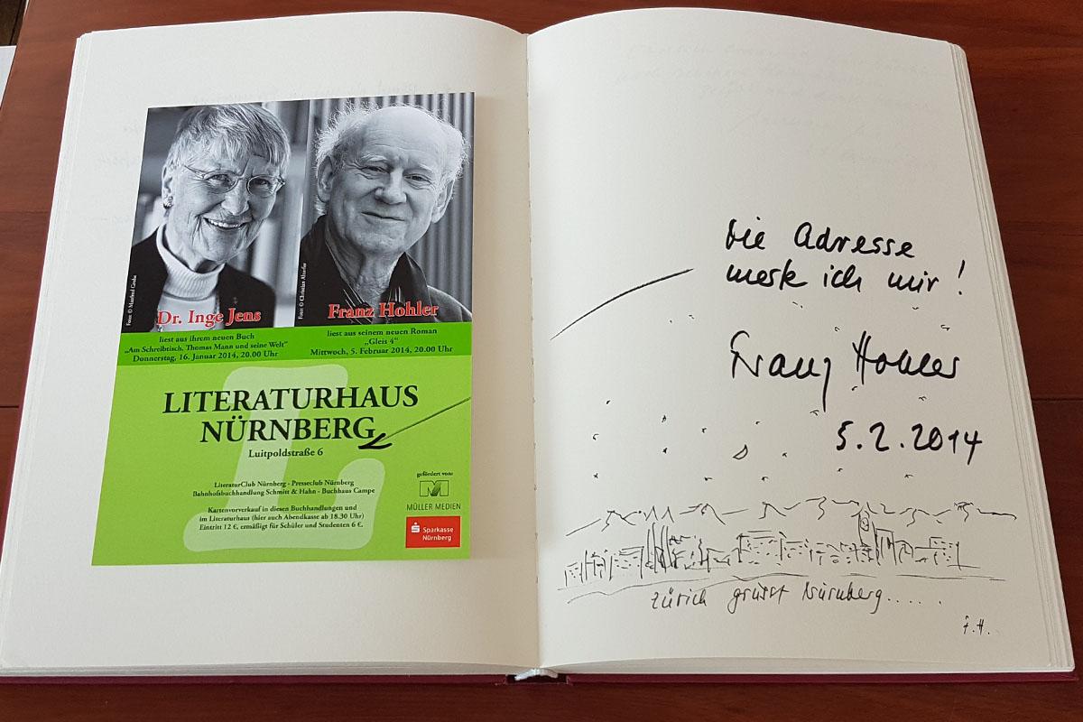 Franz Hohlers Eintrag in unser Gästebuch vom 5. Februar 2014.