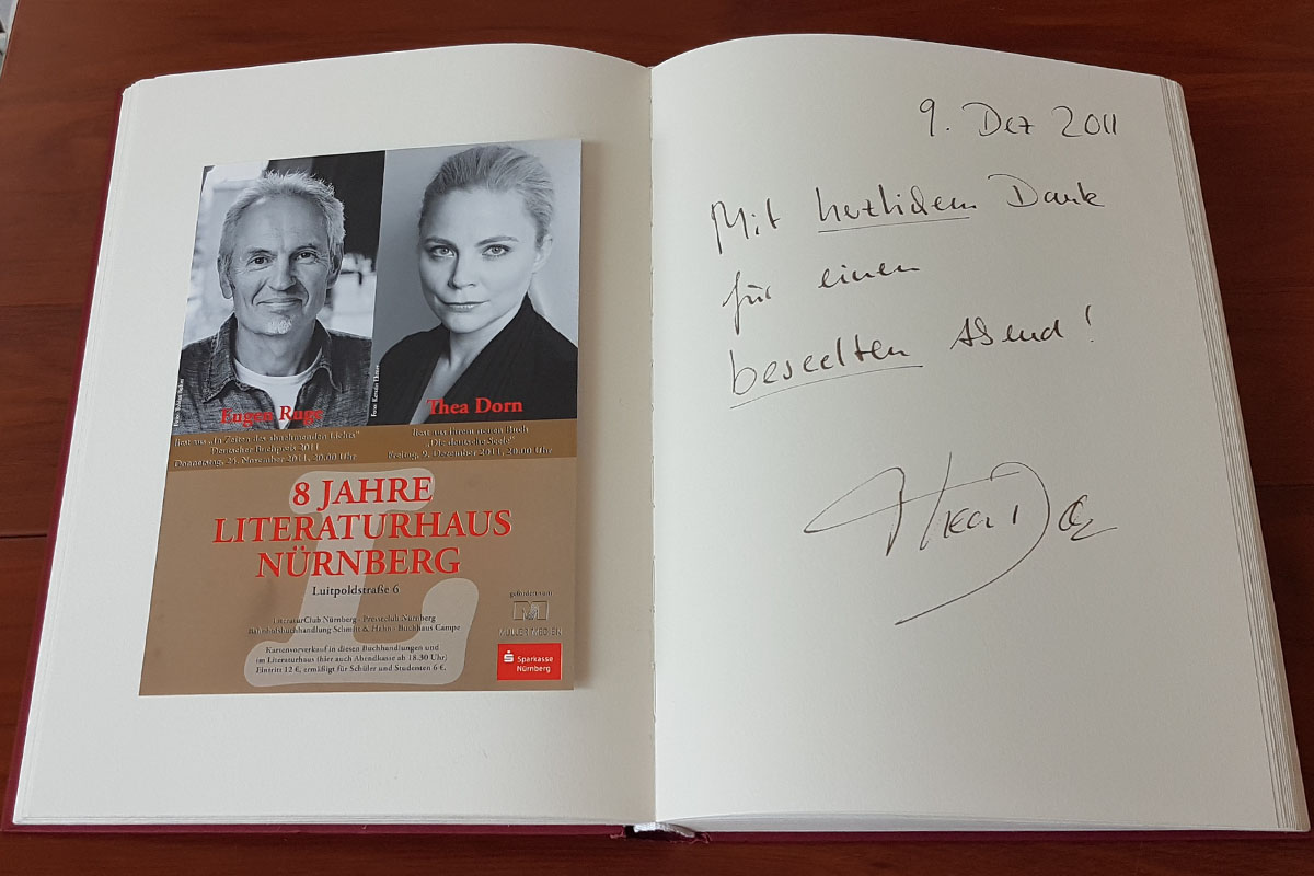 Thea Dorns Eintrag in unser Gästebuch vom 9. Dezember 2011.