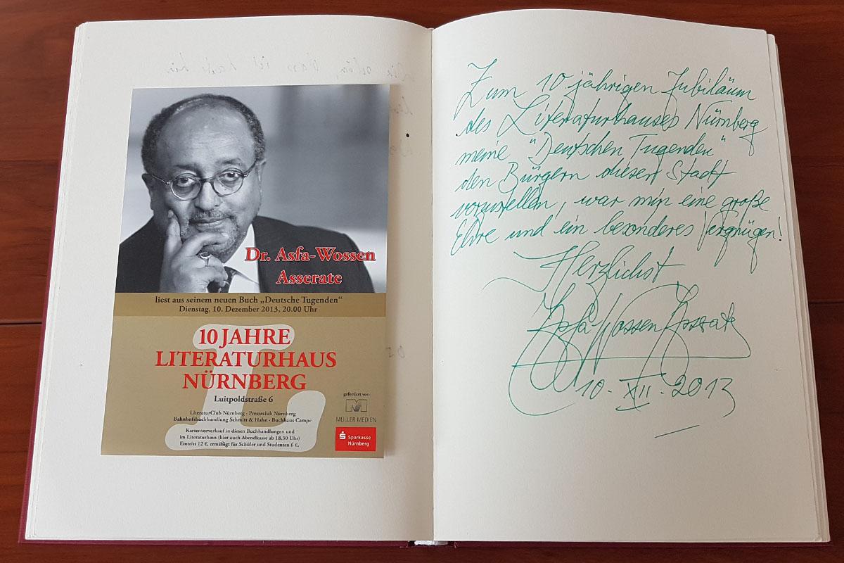 Doktor Asfa-Wossen Asserates Eintrag in unser Gästebuch vom 10. Dezember 2013.