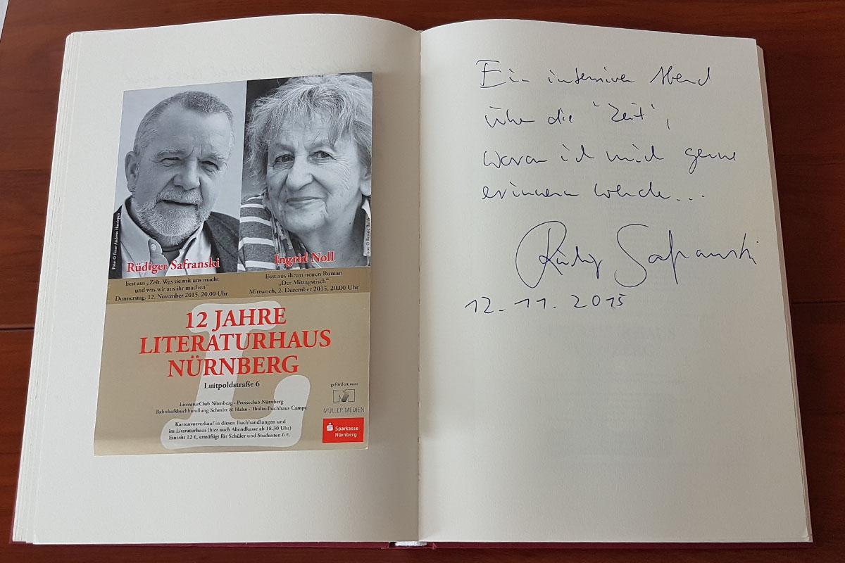 Rüdiger Safranskis Eintrag in unser Gästebuch vom 12. November 2015.