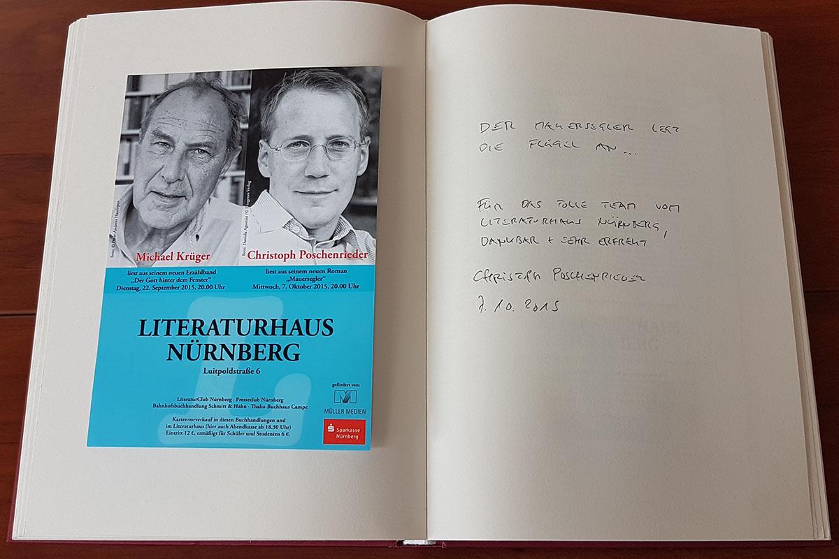 Christoph Poschenrieders Eintrag in unser Gästebuch vom 7. Oktober 2015.