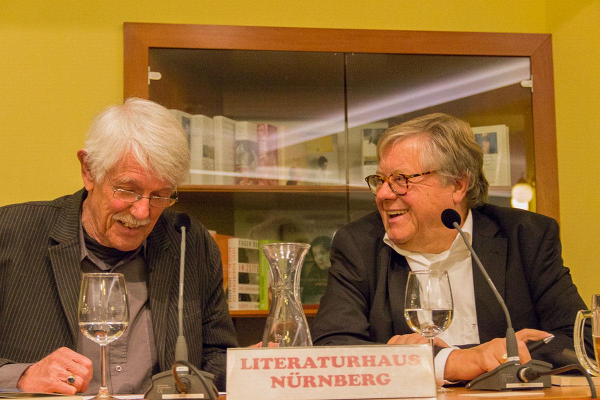 Allmächd, Fränggisch! Karlheinz Bedall mit Fitzgerald Kusz am 10. Oktober 2017. © Joachim Hauser